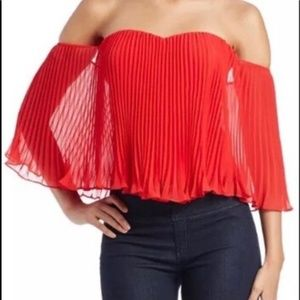 Guess Off The Shoulder Pleated Bustier Crop Top S